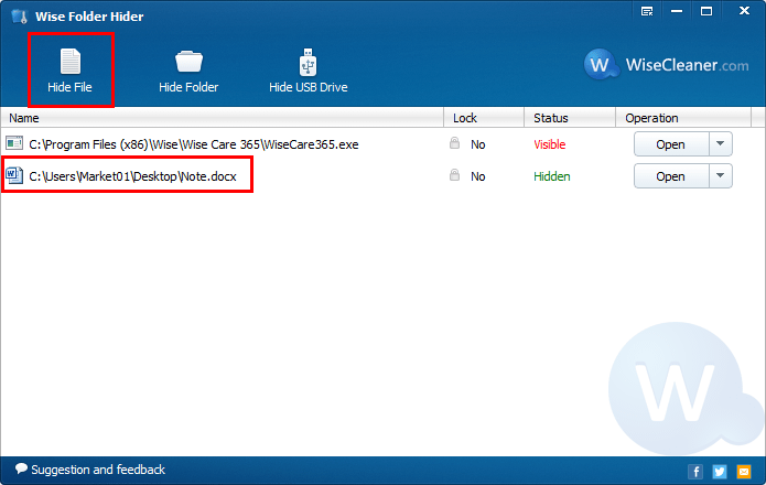 """Click """"Hide File"""" to select the file you want to hide. Of course you can drag and drop it directly."""