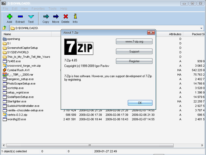 7 zip 16 file compression for Window zip file