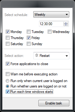 Popup schedule window