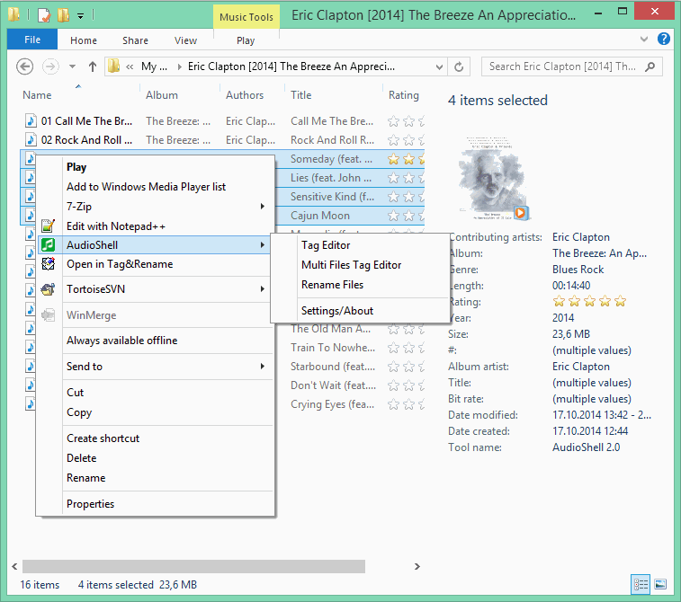 Window Explorer show mp3 files thumbnail and properties using AudioShell 2 shell handlers