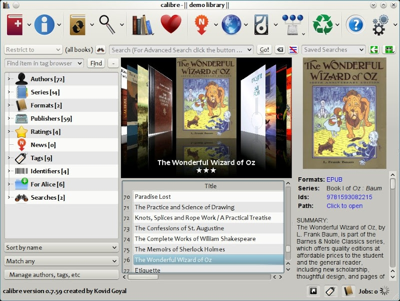 The main calibre interface, showing books in your library.