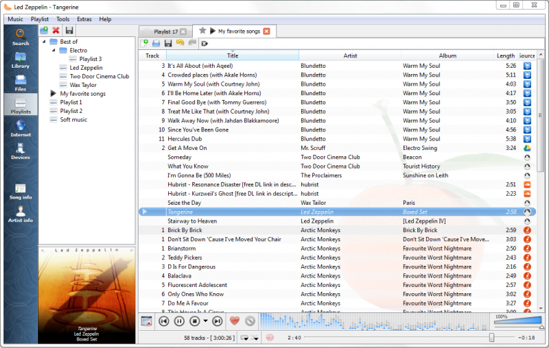 Playlist tab, while listening to songs from multiples Internet services