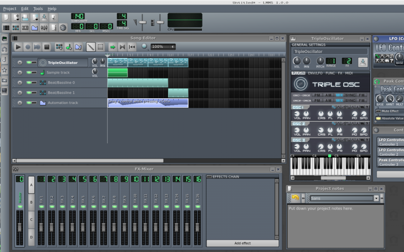 Song editor, triple osc, project notes & mixer