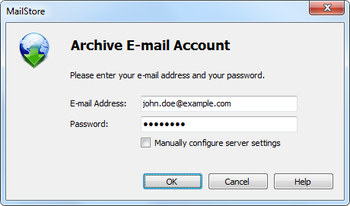 Archiving from IMAP, POP3 or Microsoft Exchange server