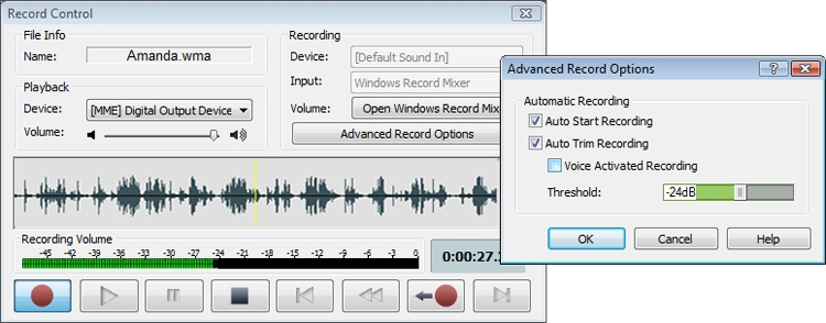 WavePad includes a sound recorder that supports autotrim and voice activated recording.