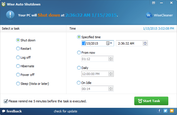 After launching Wise Auto Shutdown, you will find the task and time are listed in two parts.