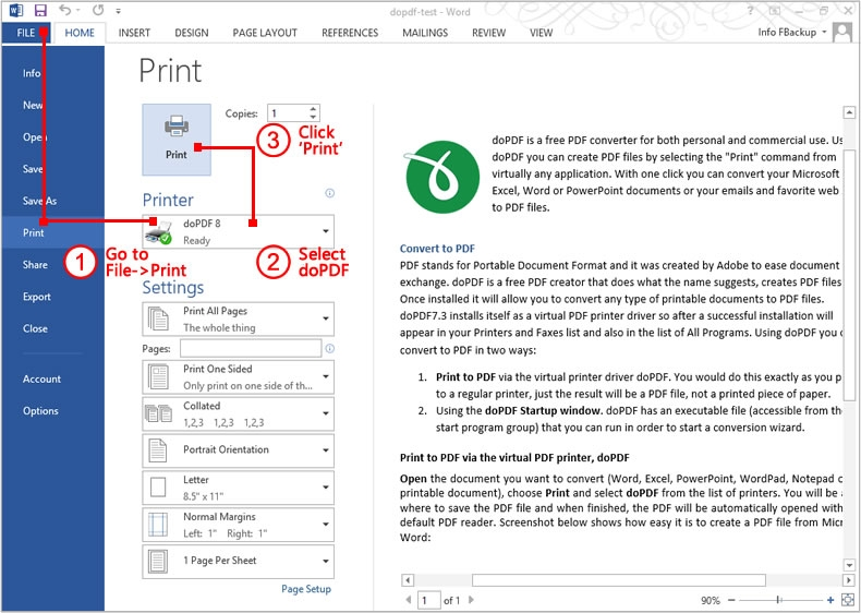Create PDF files from word with doPDF