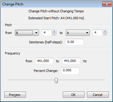 Change Pitch effect