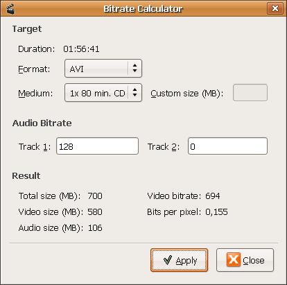 Bitrate/size calculator