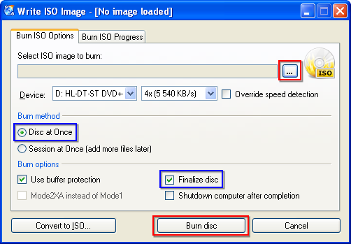Burn ISO images to disc