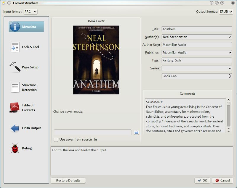 E-book conversion dialog. calibre supports conversion from many formats to many other formats.