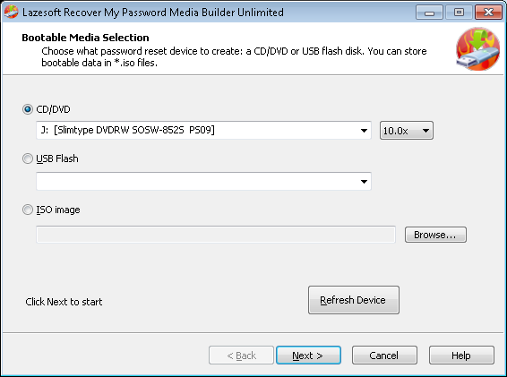 Burn a Windows password recovery CD