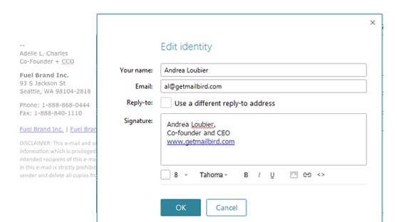 Customize your email signature for every email identities