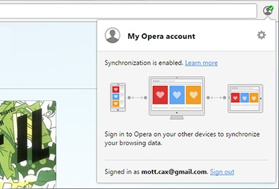 Just sign in to your Opera account to sync browsing data - bookmarks, open tabs, passwords and typed history.