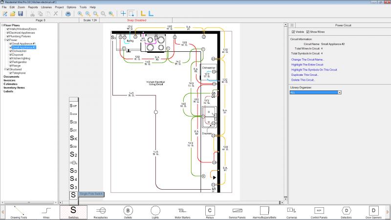 Detailed kitchen wiring is shown.