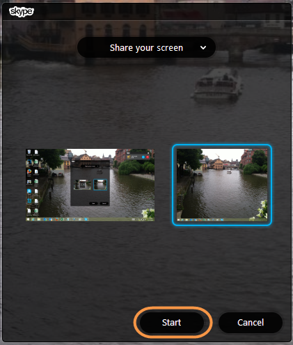 Sharing screen in Skype