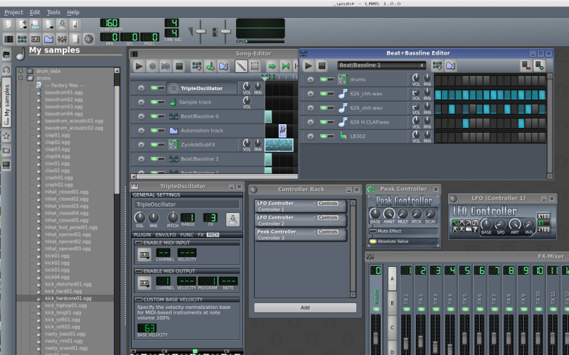 Sample browser, MIDI, Beat & bassline editor