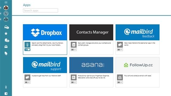 Mailbird apps-Dropbox, Evernote, Facebook, Contacts Manager, Asana, Google Drive, Calendar, Veeting and more.