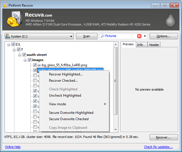 Selecting files to recover in tree view. A hierarchical approach to recovery, similar to Windows Explorer.
