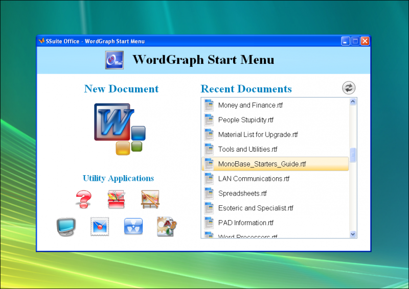 WordGraph Start Menu