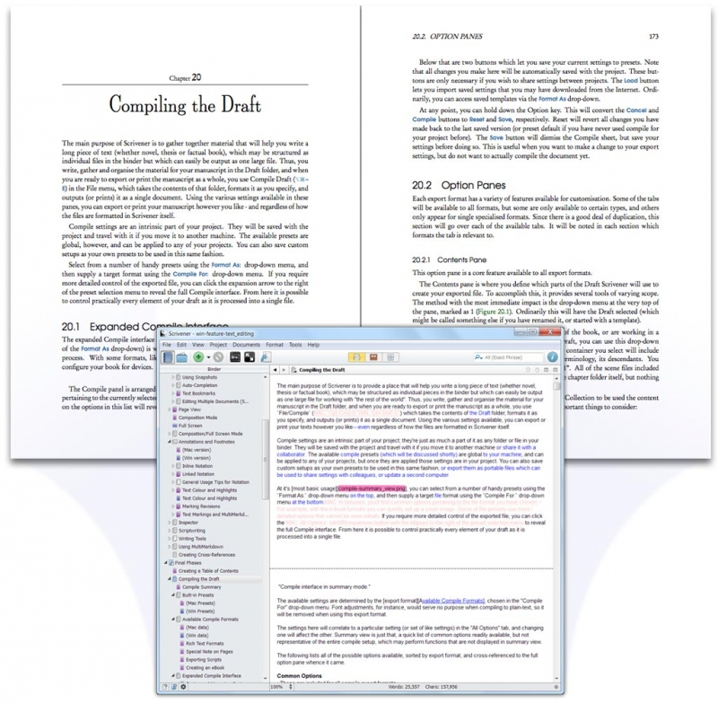 Scrivener provides access to all the features of a full rich text editor: add tables, bullet points and images and format your text however you want using the format bar at the top of the page.