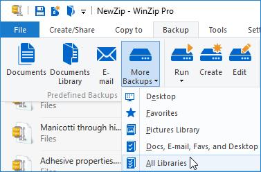 WinZip Backup jobs