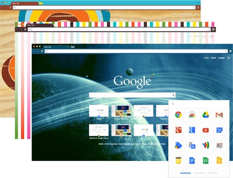 Browse just the way you'd like with Chrome themes, apps and extentions.