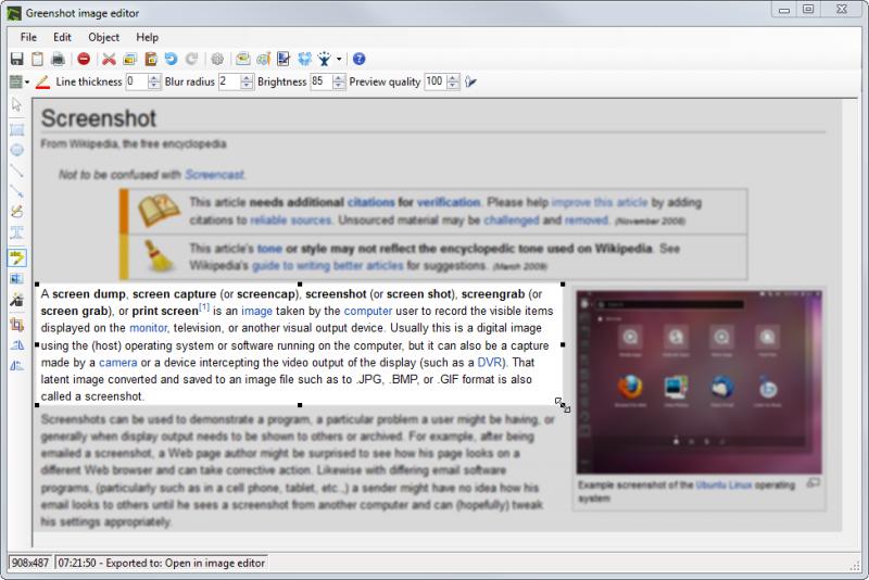 Highlighting an area using the Greenshot Image Editor