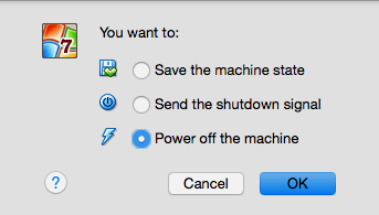 Saving the state of the machine