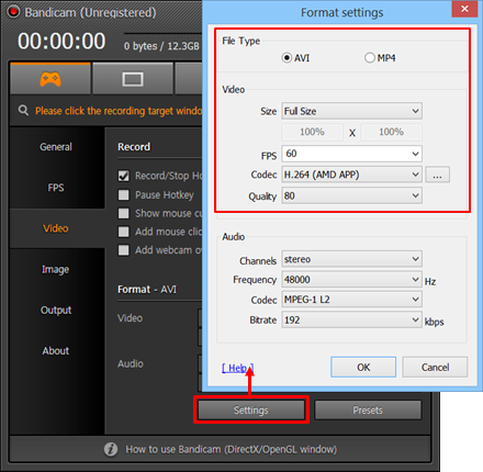 Video Format Settings
