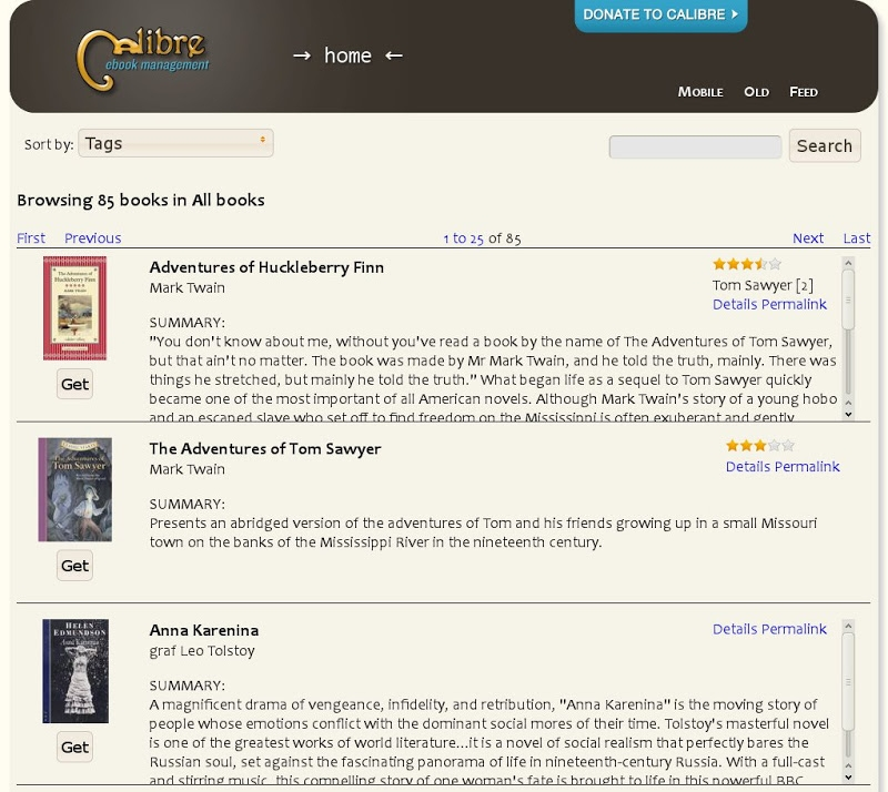 Browsing your collection on the internet, using the calibre content server.