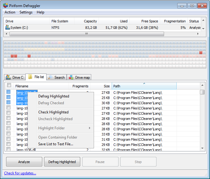 Selecting files from the file list will highlight them on the drive map. You can then defrag them by checking them and clicking the Defrag button (or use the right-click menu).