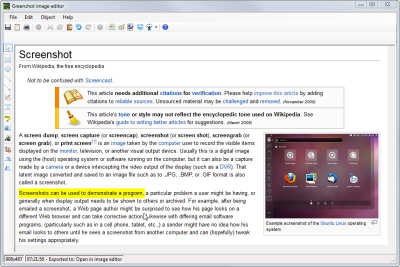 Highlighting text using the Greenshot Image Editor