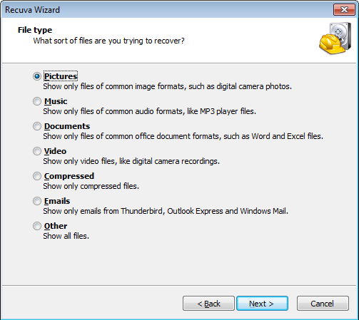 For beginner users Recuva has a simple wizard that helps you to locate the deleted files on your system.