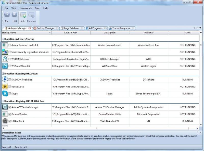 Main screen of AutoRun Manager tool showing programs loaded on Windows startup