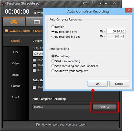 Auto Complete Recording