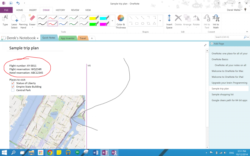 OneNote has many different inking options.