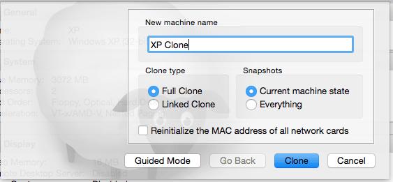 Cloning virtual machines