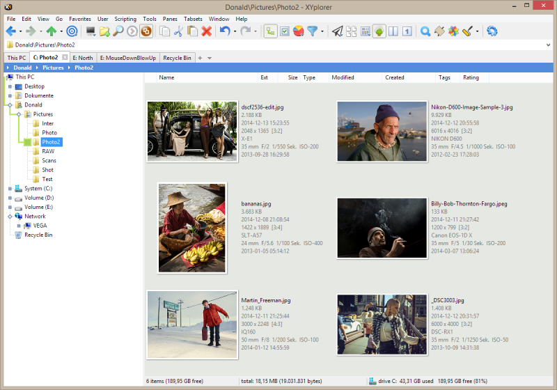 In Tiles and Thumbnails views the basic Photo Data (EXIF) can be shown right at the thumbnails. Note that also the aspect ratio is shown.