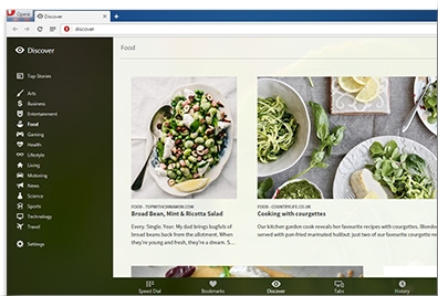 Want to stay in the loop with the latest news? Opera's restyled Discover feature with an intuitive list of categories brings it to your browser.