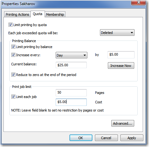 You can forbid or pause printing documents from any user or users group. You can use quotas to limit printing for any object (printer, user or users group).