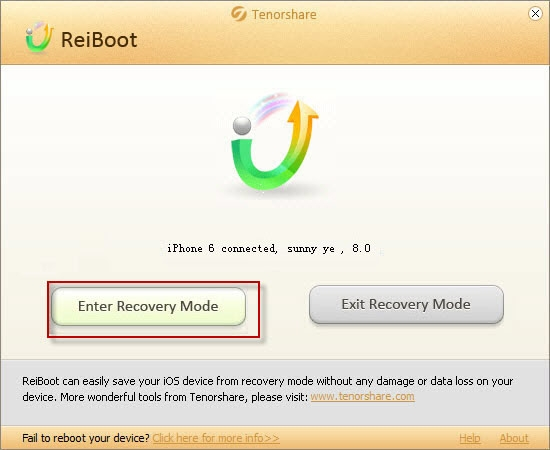 Select to enter recovery mode