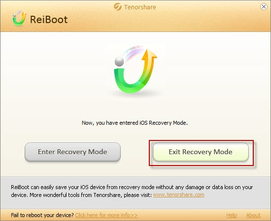 Select to exit recovery mode