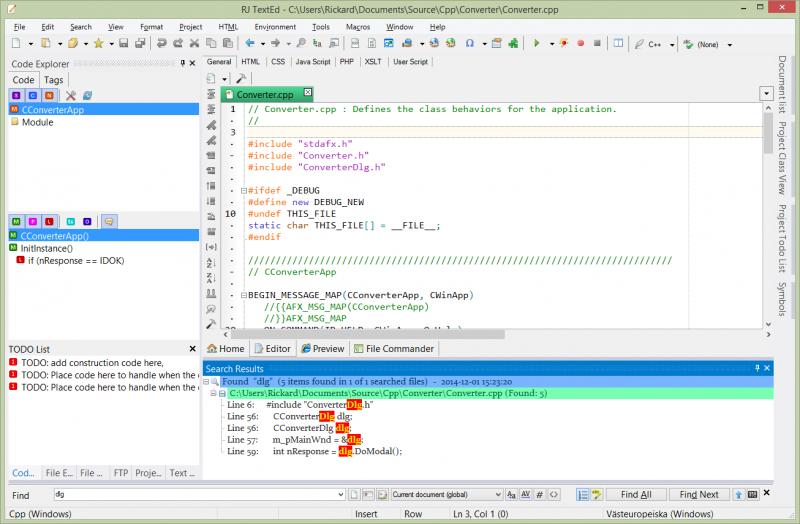 Find all result and code explorer panels