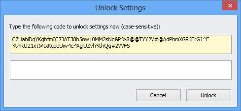 Unlock settings