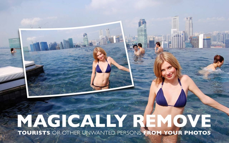 Magically remove tourists or other unwanted persons from your photo