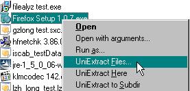 Universal Extractor context menu