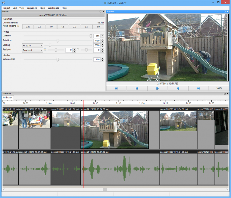 Vidiot main window including audio peaks