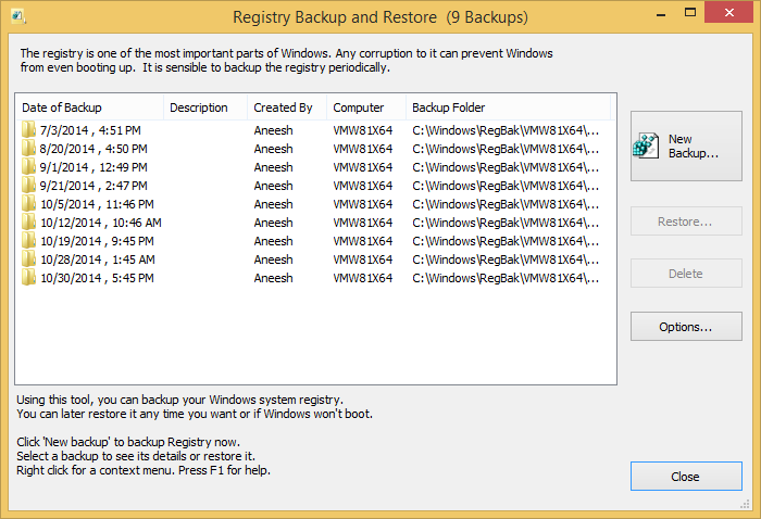 Registry Backup and Restore