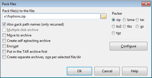 Pack files dialog
